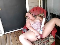 Mature Milf Has Long Distance Play Session with Partner on Balcony w Huge Orgasm