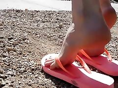 Emily modeling darby brother pink flip flops and pale skin