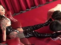 crazy danger Femdom Licking Boots and Nipple Punishment
