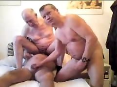 Three gay older grandpa sucking each other penis