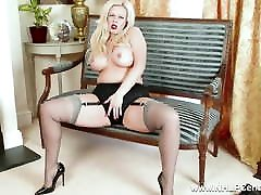 Curvy blonde masturbates in sexy grey nylons and japanese party club heels