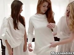 Timid fuck on his first date fingered and toyed by lesbian Mormon babes