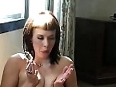 Tiny beautie sucks a large cock like a professional