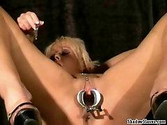 Bizarre medical fetish and electro bdsm of blonde Crystel