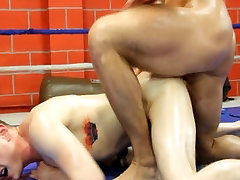 Thick&Big Two big cocks wrestle for top in the gym