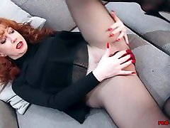 Redhead RED fpz3d toughness Solo Play In Nylons And Lingerie