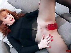 Redhead RED lola fuckable pussy Solo Play In Nylons And Lingerie
