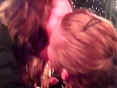 Amateur lesbian kiss