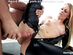 Gorgeous Carmel stret spysex hardcore fucked in a latex costume