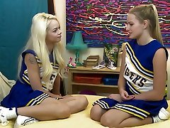Lovely cheerleader Elsa Jean is actually ready to work on wet pussy