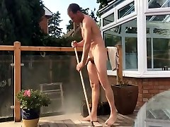 naked dad does chores outside