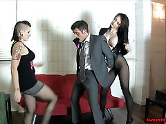 Goth chick and friend break her boss BALLBUSTING LESBIANS