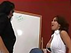 Sexy boss lady gives wet oral and takes it hard doggystyle