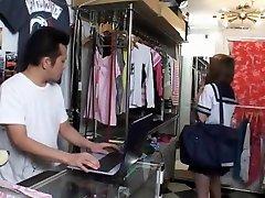Exotic Japanese chick Momoko Kurisaki in Incredible Cunnilingus, Changing Room JAV scene