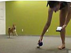 braless twitch streamer speelt met doggo