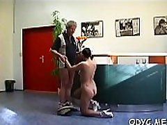 Really skinny amateur babe with small tits rides an old knob
