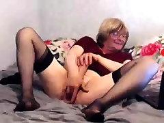 Granny adult youthful fucker masturbate with orange dildo