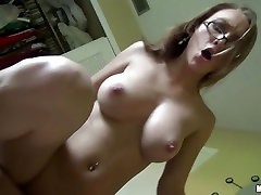 This hot ex girlfriend rides this cock up her slit