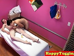 Smalltit asian masseuse dickrides in cowgirl