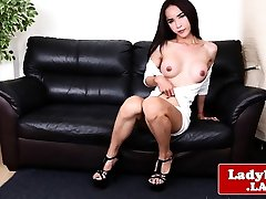 Glamcore ladyboy solo tugging her dick
