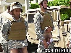 Military guys in an interracial outdoor mecumi gangbang creampie orgy