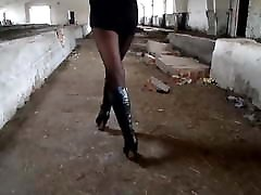 Karina in Nylon Pantyhose and High-Heel Boots