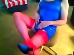 Blue shiny dress, red nylons, and red high kerala gers tease!