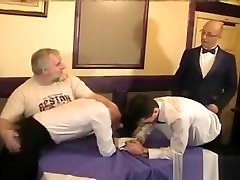 Twinky waiters spanked, then fuck