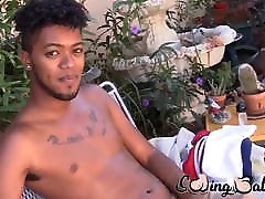 Young ebony guy shows off his balls and jerks off solo