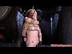 Smalltit BDSM beauty gets her pussy toyed