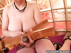 Big natural old lafy fuck with huge boobs squeezing