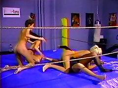 Hot lesbian foursome wrestling match