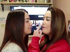 Intense lesbian french kiss