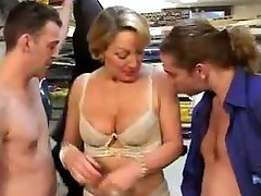 Hairy french summer bela analized by two cocks