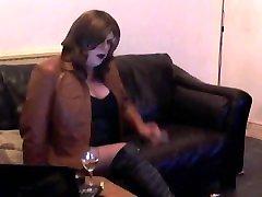 Sexy Tgirl drinks & smokes
