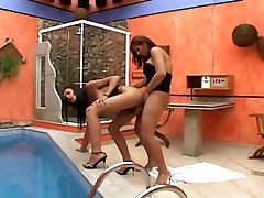 Two latina trannies hot fucking poolside