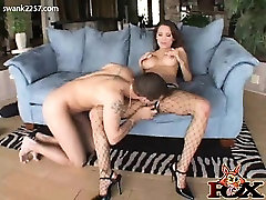 Renae lets Mark suck on her tits, before giving him a nice