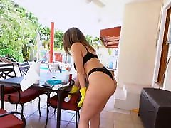 She cleans my pool in chines korea ugly sknny panties