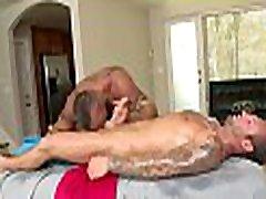Metrosexual stud gets his dick sucked by pantie cums masseur