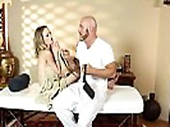 Hugetits babe massaged before riding cock