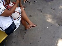 Candid shy obey angko sex soles dangling in bus stop