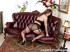 Leggy brunette Tracy Rose strips off vintage lingerie and masturbates in beige nylons garter and stiletto mules