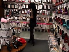 Girl in extremly short skinny wife gang drsess and hot heels