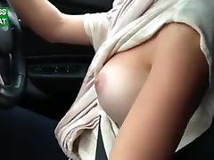 My slutty busty wifey loves to drive a car layd booy her tits