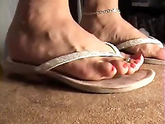 two different types of flip flops girl luxy trample