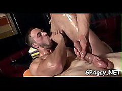Cute twink gets a lusty massage from stylish gay guy