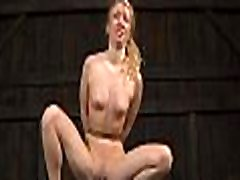 Tied up beauty receives vicious pleasuring for her bawdy cleft