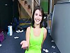 That filthy brunette gladly accedes to perform a kiss warner blowjob