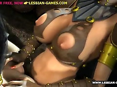 Breasty brunette gets strapon sex by lesbian 3d mistress