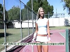 Dara lovely blonde babe playing tennis and flashing boobs